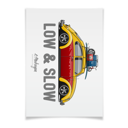 "Плакат A2(42x59) ""VW Beetle. Low & Slow"" - жук, vw"
