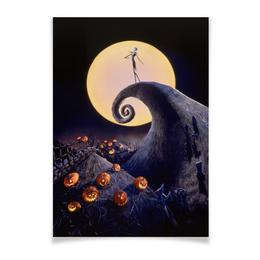 "Плакат A2(42x59) ""Кошмар перед Рождеством"" - скелет, рождество, тим бертон, череп, мультфильм"