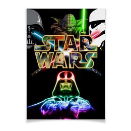 "Плакат A2(42x59) ""Star Wars ""Pick a side of the force"""" - надписи, star wars, звездные войны, йода, штурмовик"