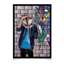 """Плакат A2(42x59) """"Граффити"""" - арт, авторство, волк, интерьер, граффити"""