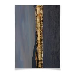 "Плакат A2(42x59) ""Женева. Вечер"" - город, вода, озеро, вечер, швейцария"