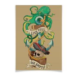 """Плакат A2(42x59) """"Осьминог"""" - череп, якорь, old school, татуировка, пират"""