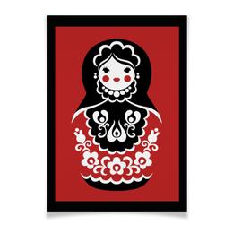 "Плакат A2(42x59) ""Матрёшка"" - цветы, россия, орнамент, матрёшка"
