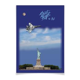 """Плакат A2(42x59) """"Истребитель Су-57 над Статуей Свободы"""" - to fly, вкс, истребитель, свобода, самолет"""