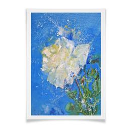 """Плакат A2(42x59) """"Западный ветер"""" - цветок, белый, роза, живопись, нежный"""