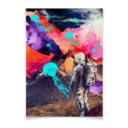 "Плакат A2(42x59) ""Фантастический ландшафт"" - арт, space, абстракция, космонавт, пространство"