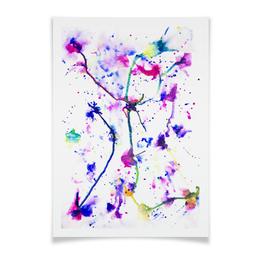 """Плакат A2(42x59) """"Фиолетовое притяжение"""" - цвета, фиолетовый, краски, абстракция, линиии"""