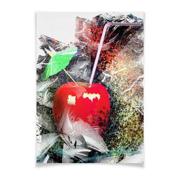 """Плакат A2(42x59) """"Яблочный микс"""" - напиток, абстракция, яблоко, фрукт, натюрморт"""