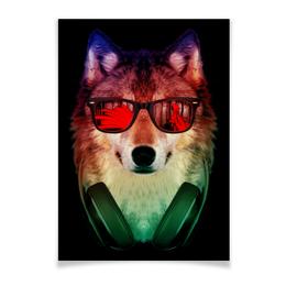 """Плакат A2(42x59) """"Волк в очках"""" - арт, наушники, абстракция, волк, диджей"""