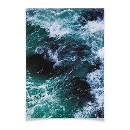 "Плакат A2(42x59) ""Бескрайнее море"" - море, океан, flow, shrimps, sailboat"