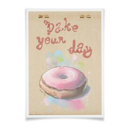 """Плакат A2(42x59) """"Bake your day"""" - сладости, акварель, пончик, донат"""