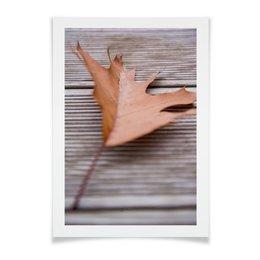"""Плакат A2(42x59) """"Кленовый лист"""" - листья, осень, дерево, скандинавия, коричнывый"""