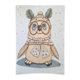 "Плакат A2(42x59) ""Птичка"" - зима, бежевый, птица, снег, иллюстрация"