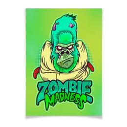 """Плакат A2(42x59) """"Zombie Madness"""" - арт, zombie, зомби, обезьяна, горилла"""