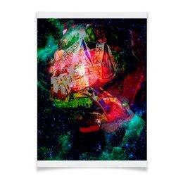 """Плакат A2(42x59) """"Галактическая избенка"""" - коллаж, яркий, акварель, домики, фантазийный пейзаж"""