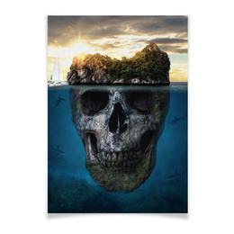 """Плакат A2(42x59) """"MYSTERIOUS ISLAND"""" - остров, океан, приключения, таинственныйостров"""
