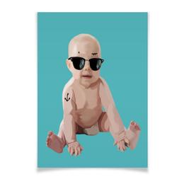 """Плакат A2(42x59) """"Forever young"""" - прикол, ретро, очки, дети, хипстер"""