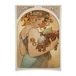 """Плакат A2(42x59) """"Fruit Альфонса Мухи"""" - арт, девушка, 8 марта, картина, альфонс муха"""