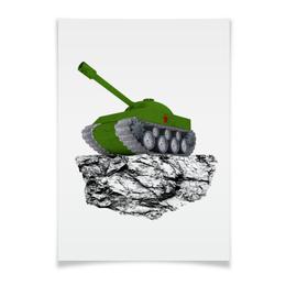 """Плакат A2(42x59) """"С 23 февраля!"""" - 23 февраля, день защитника отечества, танк, февраль, прадник"""
