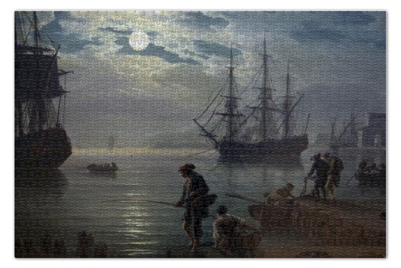 Пазл 73.5 x 48.8 (1000 элементов) Printio Морской порт при лунном свете при свете надежды