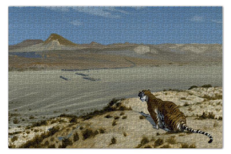 Пазл 73.5 x 48.8 (1000 элементов) Printio Наблюдающий тигр (жан-леон жером) чехол для iphone 4 глянцевый с полной запечаткой printio пигмалион и галатея жан леон жером