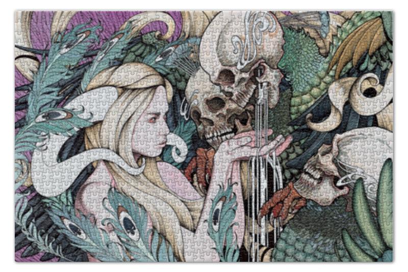 Пазл 73.5 x 48.8 (1000 элементов) Printio Girl with skulls пазл 1000 томас кинкейд мост 57466