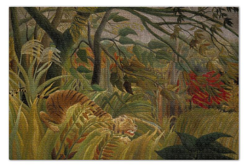 Пазл 73.5 x 48.8 (1000 элементов) Printio Нападение в джунглях (картина анри руссо) контратака лучшая защита нападение