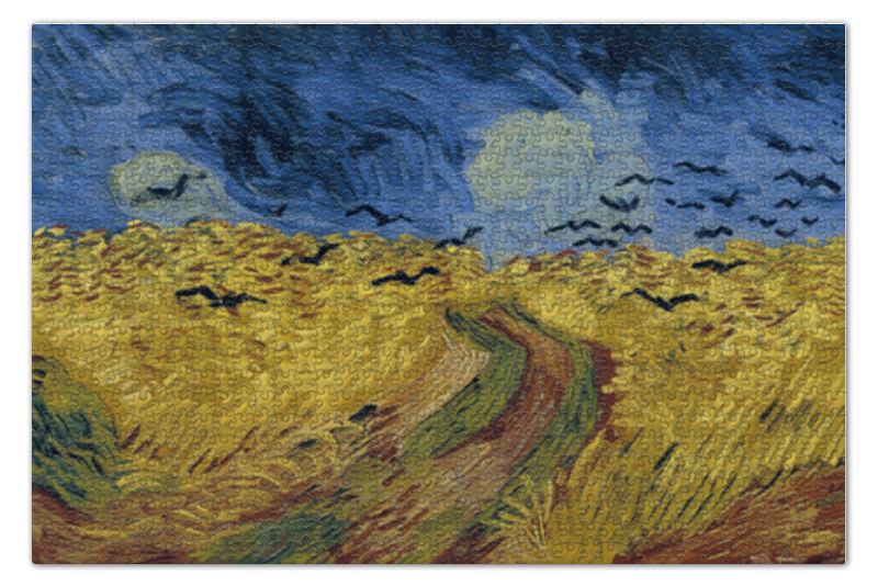 цены Пазл 73.5 x 48.8 (1000 элементов) Printio Пшеничное поле с воронами (ван гог)