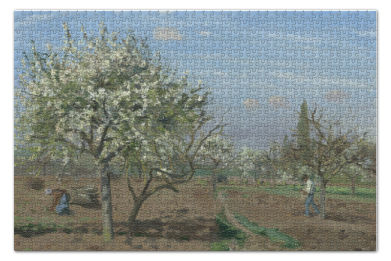 Пазл 73.5 x 48.8 (1000 элементов) Printio Фруктовый сад в цвету (картина писсарро) цена