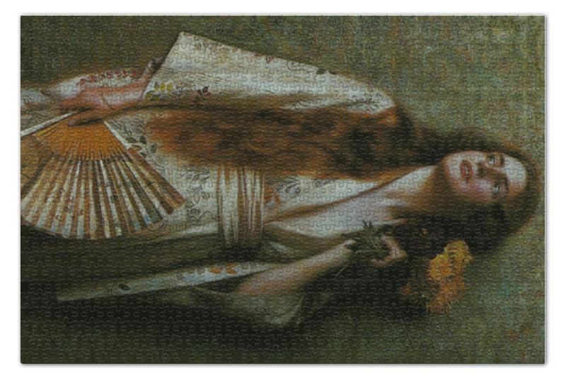 Пазл 73.5 x 48.8 (1000 элементов) Printio Frau im kimono mit fächer und blumen blumen пиджак