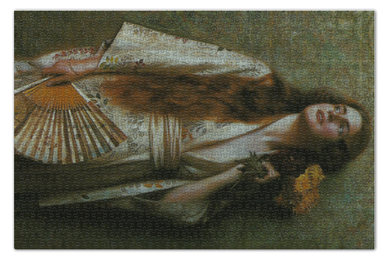 Пазл 73.5 x 48.8 (1000 элементов) Printio Frau im kimono mit fächer und blumen okimono kimono