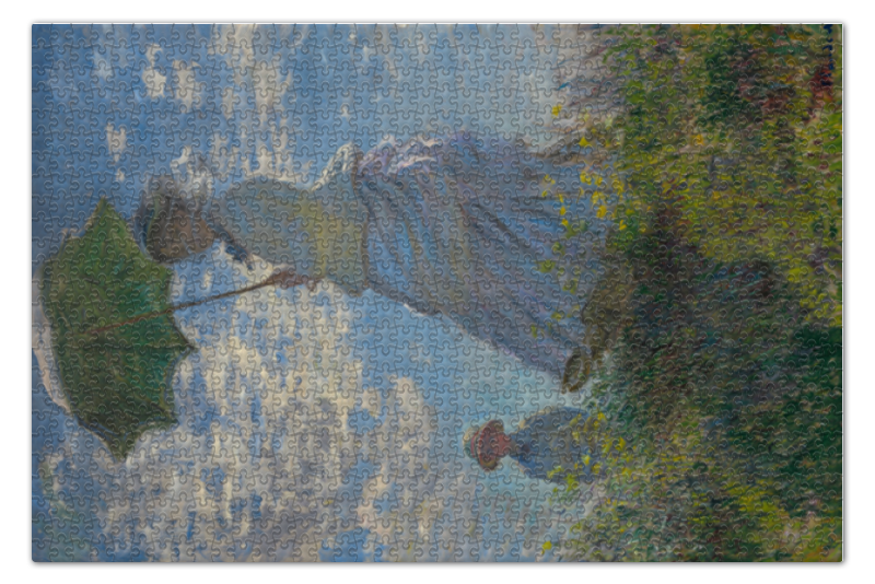Пазл 73.5 x 48.8 (1000 элементов) Printio Дама с зонтиком — мадам моне со своим сыном картина из кожи дама с зонтиком моне коллекция elole interior синий сплошн холст прямоуг рама