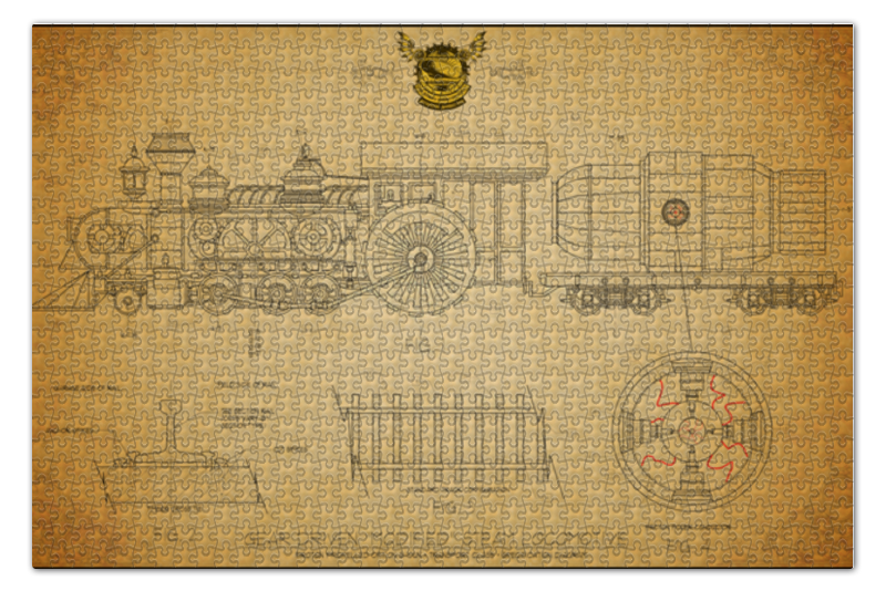 Пазл 73.5 x 48.8 (1000 элементов) Printio Steampunk locomotive пазл 1000 томас кинкейд мост 57466