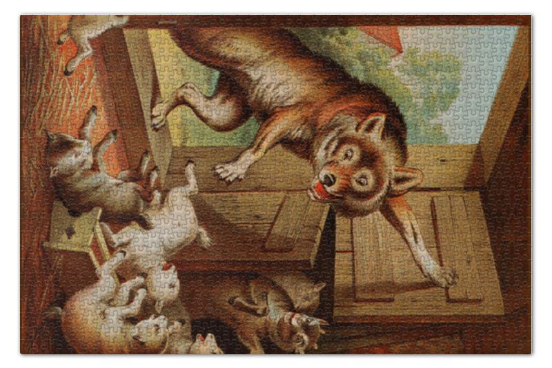 Пазл 73.5 x 48.8 (1000 элементов) Printio Волк и семеро козлят азбукварик книга с музыкальным модулем волк и семеро козлят