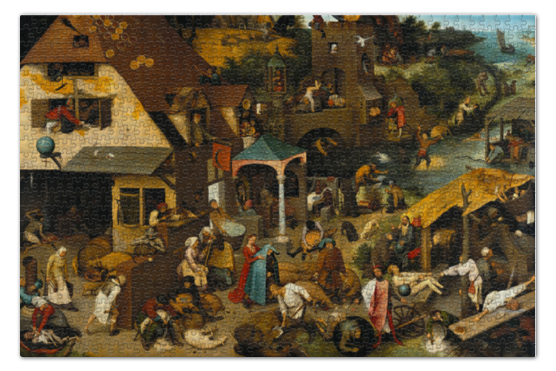 Пазл 73.5 x 48.8 (1000 элементов) Printio Фламандские пословицы (питер брейгель) пазл 73 5 x 48 8 1000 элементов printio детские игры питер брейгель