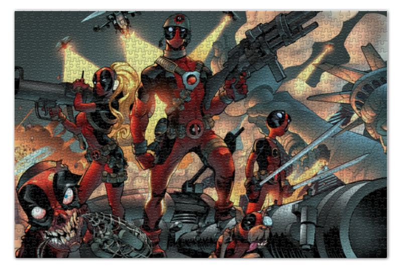 Пазл 73.5 x 48.8 (1000 элементов) Printio Deadpool family пазл 73 5 x 48 8 1000 элементов printio сад земных наслаждений