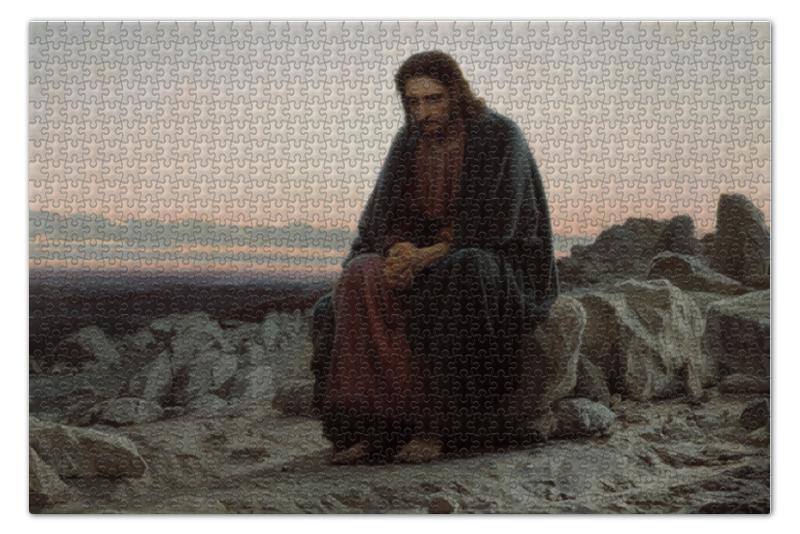 Пазл 73.5 x 48.8 (1000 элементов) Printio Христос в пустыне (картина крамского) вышивка бисером молящийся христос