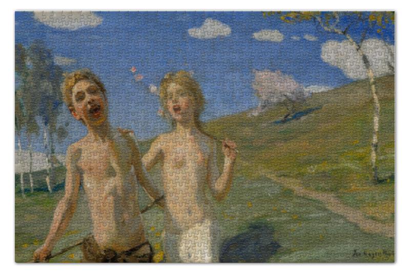 Пазл 73.5 x 48.8 (1000 элементов) Printio Ликующие дети (янис розенталс) цена