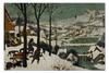 """Пазл 73.5 x 48.8 (1000 элементов) """"Охотники на снегу (Питер Брейгель Старший)"""" - картина, брейгель"""
