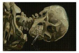 """Пазл 73.5 x 48.8 (1000 элементов) """"Череп с горящей сигаретой (Винсент Ван Гог)"""" - череп, картина, ван гог, живопись"""