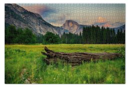 """Пазл 73.5 x 48.8 (1000 элементов) """"Mountains trees"""" - деревья, горы, поле, landscape"""