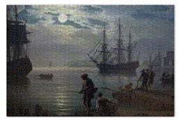 "Пазл 73.5 x 48.8 (1000 элементов) ""Морской порт при лунном свете"" - картина, верне"