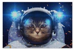"""Пазл 73.5 x 48.8 (1000 элементов) """"Котосмонавт"""" - кот, космос, животное, костюм"""