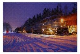 """Пазл 73.5 x 48.8 (1000 элементов) """"Поезд"""" - железная дорога, поезд, зима, снег"""