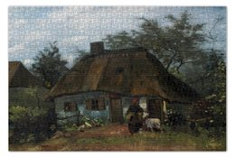 """Пазл 73.5 x 48.8 (1000 элементов) """"Изба и женщина с козой (Винсент Ван Гог)"""" - картина, ван гог, живопись"""