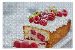 "Пазл 73.5 x 48.8 (1000 элементов) ""Малиновый пирог"" - малина, cake, raspberrie"