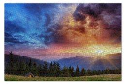 """Пазл 73.5 x 48.8 (1000 элементов) """"Рассвет"""" - sunrise, горы, mountains, отдых"""