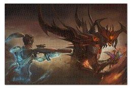 "Пазл 73.5 x 48.8 (1000 элементов) ""Sonya vs Diablo"" - герои шторма, хотс, диабло, соня, heroes of the storm"