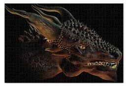 """Пазл 73.5 x 48.8 (1000 элементов) """"ДИНОЗАВРЫ ФЭНТЕЗИ"""" - голова, стиль, дракон, красота, рога"""