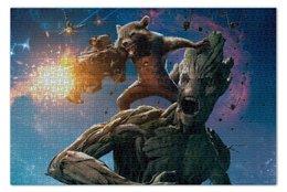 """Пазл 73.5 x 48.8 (1000 элементов) """"Ракета и Грут"""" - комиксы, марвел, стражи галактики, groot, guardians of the galaxy"""